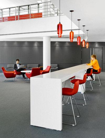 Red Glass Office Pendant Lighting