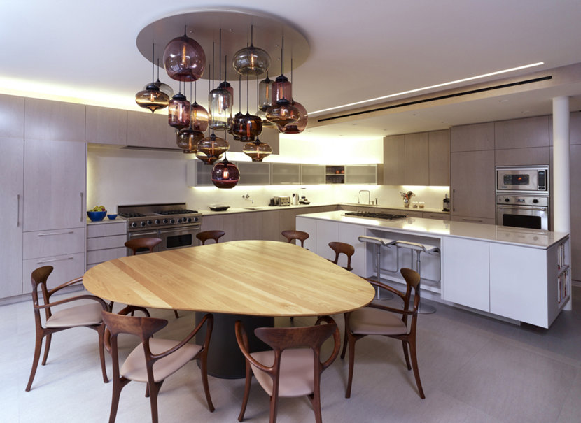 A Custom Multi-Pendant Modern Chandelier in Brooklyn Townhouse