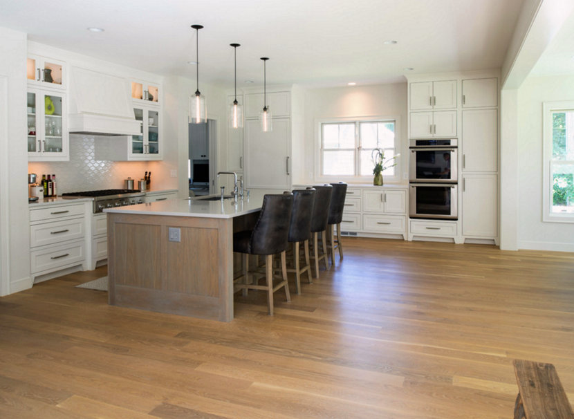 Crystal Bella Pendant Lighting in Modern Cape Cod Kitchen