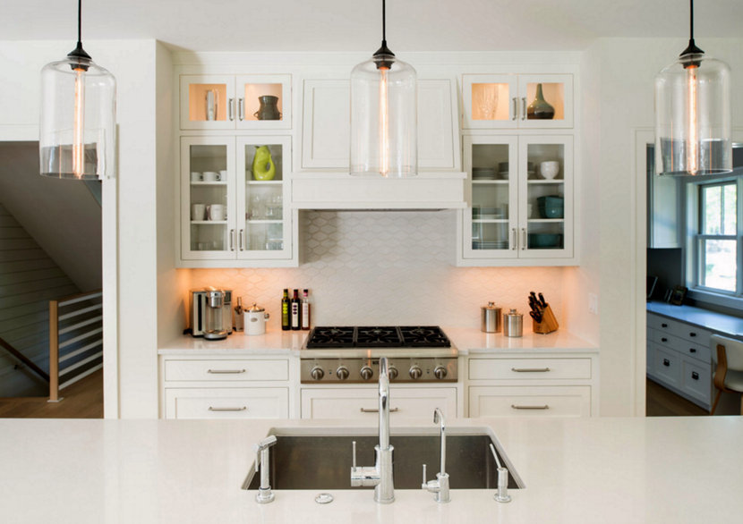 Clear Glass Pendant Lighting in Cape Cod Kitchen