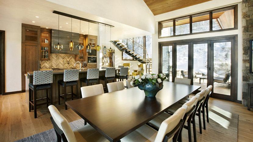 cozy colorado retreat features multi pendant modern lighting