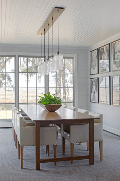 A Ceiling Canopy Creates a Sleek Finish for this Dining Room Pendant ...