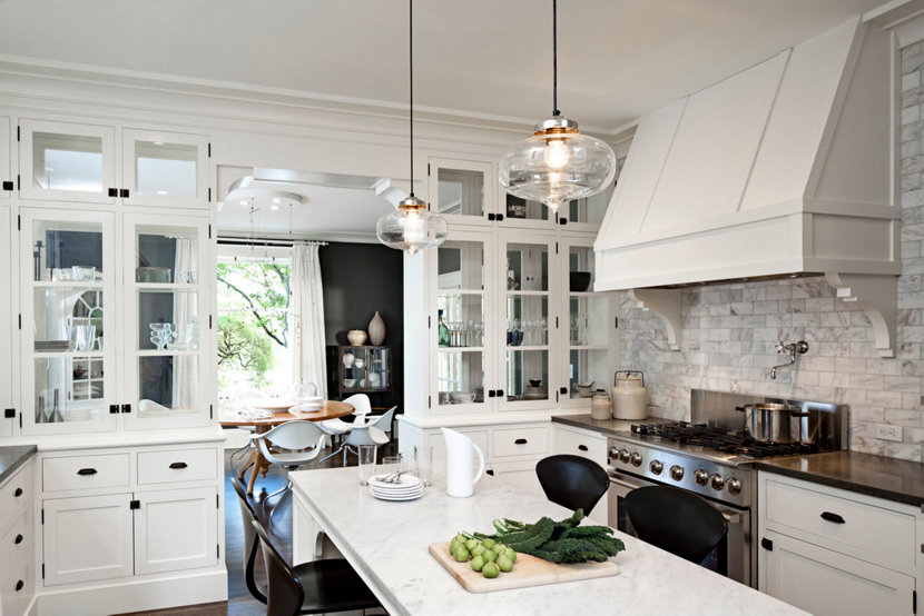 Clear glass pendant lights add contemporary look to portland kitchen aloadofball Images