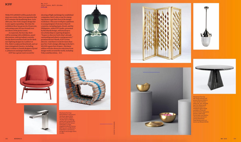 modern glass pendant light in Metropolis Magazine