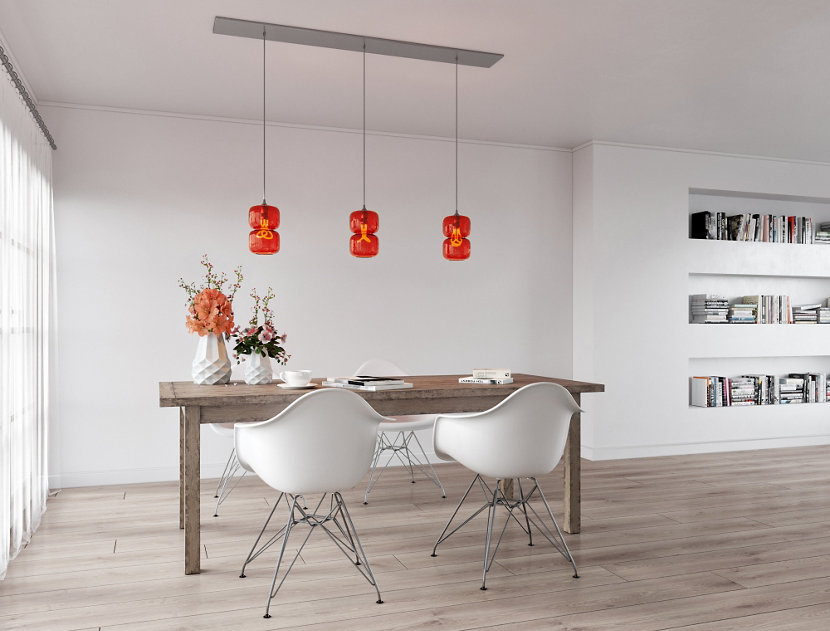 Linear 3 Canopy with Pinch Pendants in Tulip Glass
