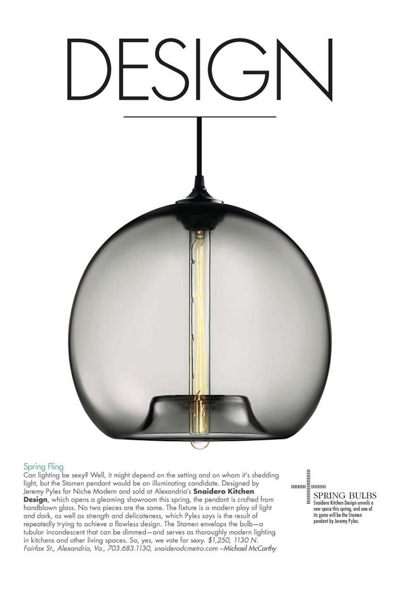 Modern Luxury DC magazine with modern pendant light