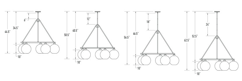 modern chandelier overall height diagram