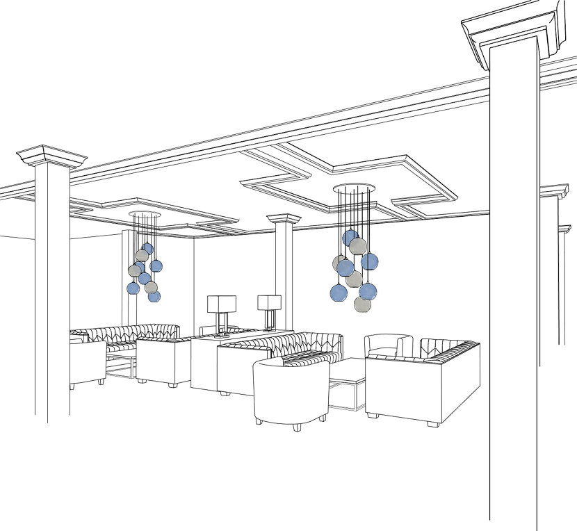 Modern Hotel Pendant Lighting Hanging from Multi-Pendant Canopy