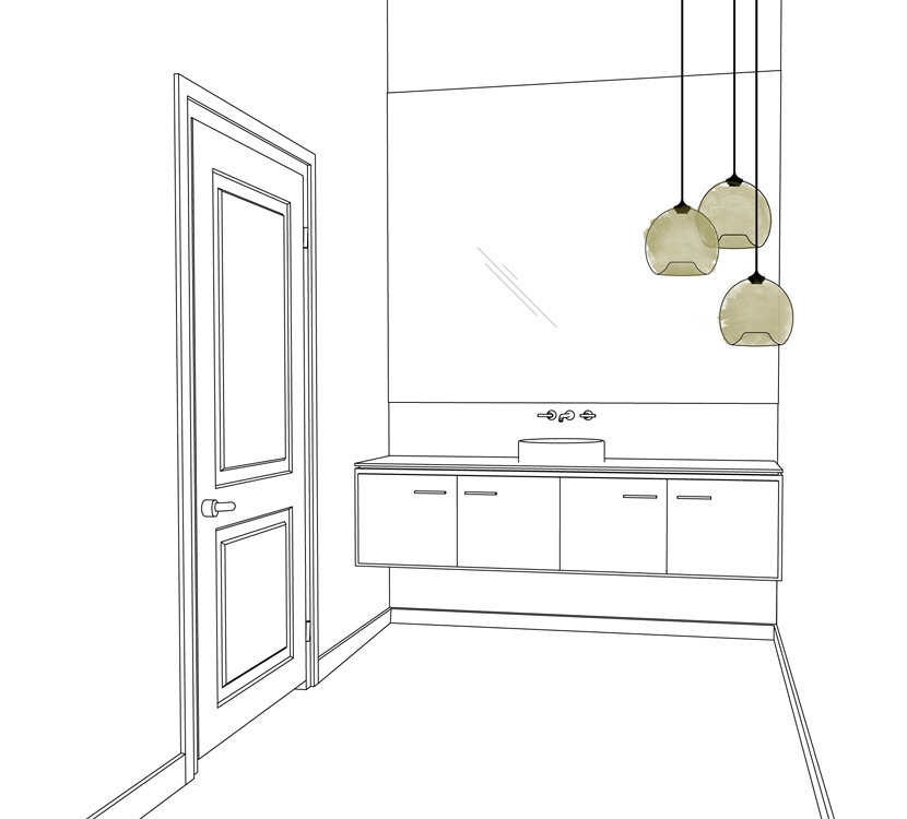 modern bathroom pendant lighting drawing