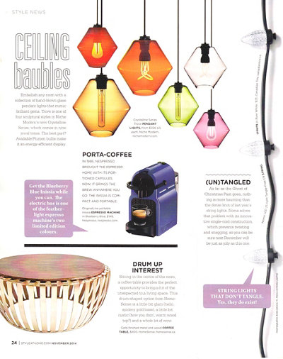 colorful glass pendant lights inside Style At Home magazine