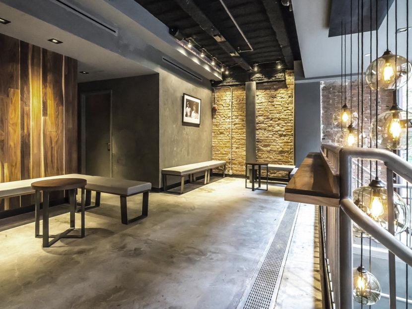 Restaurant Lighting - Sugarfish New York - Solitaire Pendants in Smoke Glass