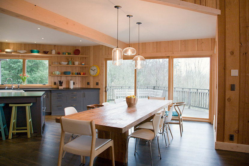 kitchen table pendant lighting in mid-century modern interior