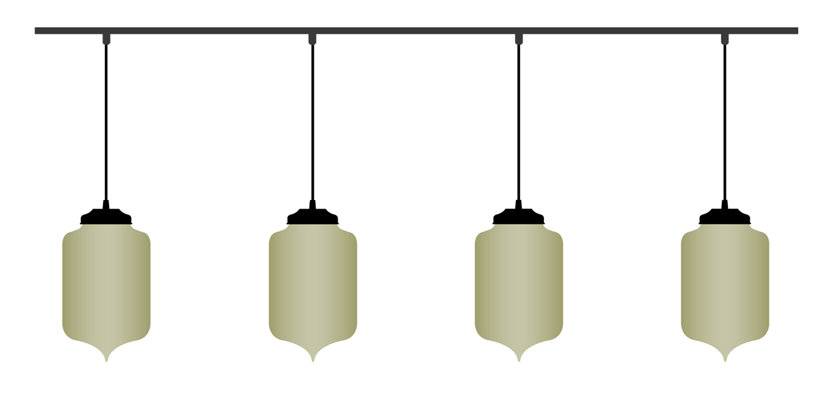 illustration of pendant lights hanging with track lighting