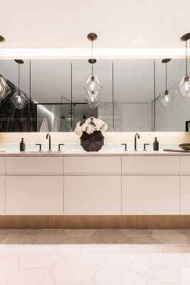 Bathroom Pendant Lighting Adds Sophisticated Touch To Couple S Condo