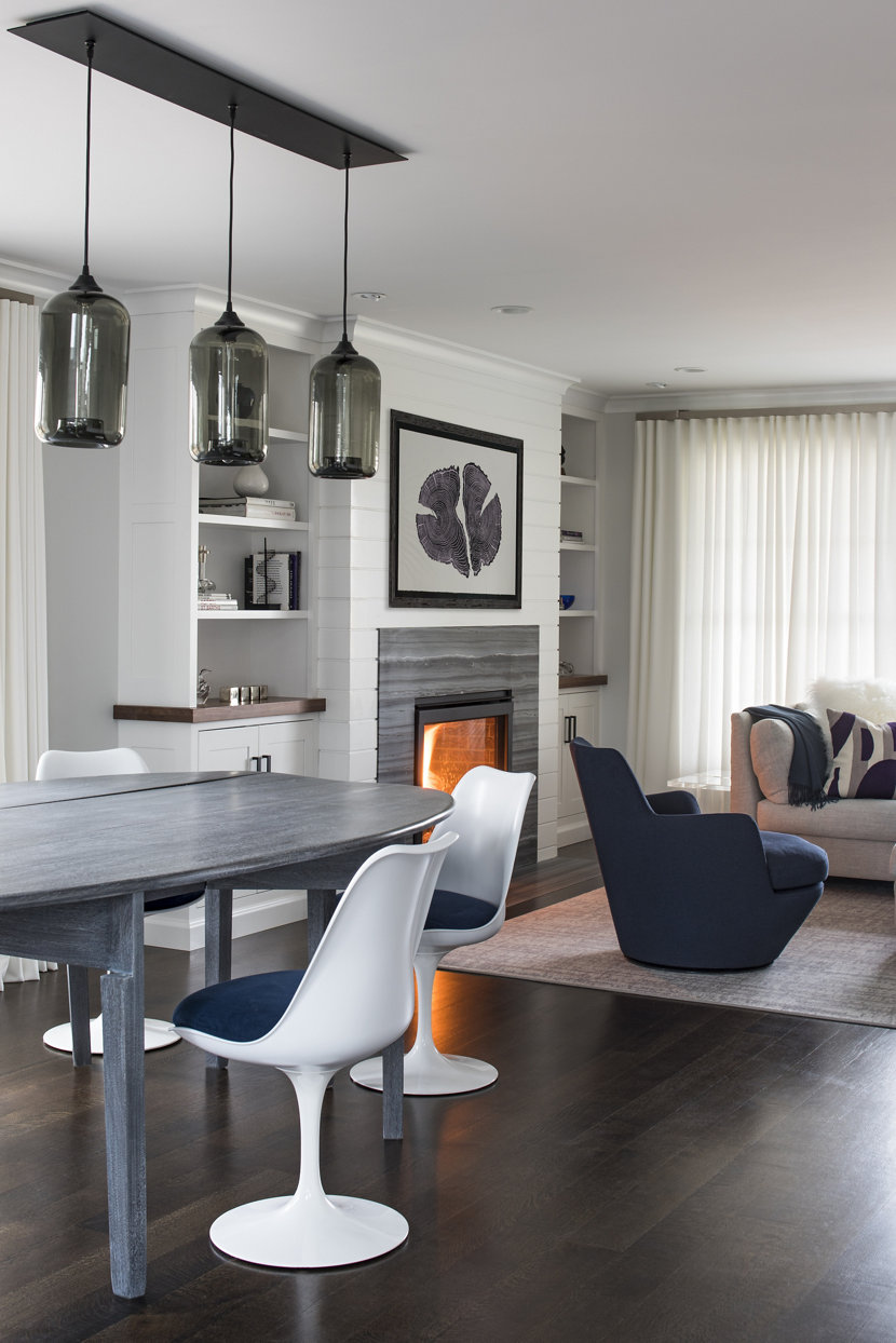 Pod Pendants in Gray Glass Hang from Multi-Pendant Modern Chandelier
