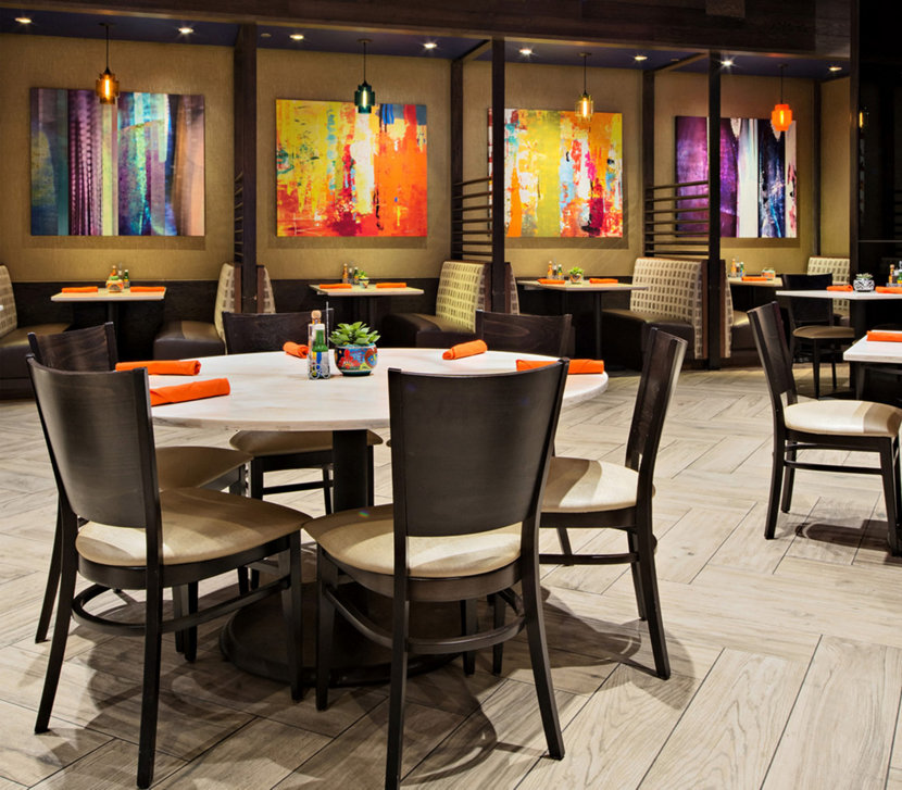 Outdoor Lighting Las Vegas: Modern Mexican Restaurant Uses Colorful Restaurant Pendant