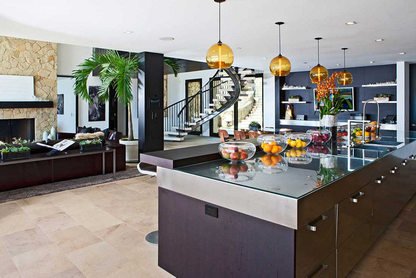 Malibu Beach Home with Amber Kitchen Island Pendant Lighting, Facing Interior