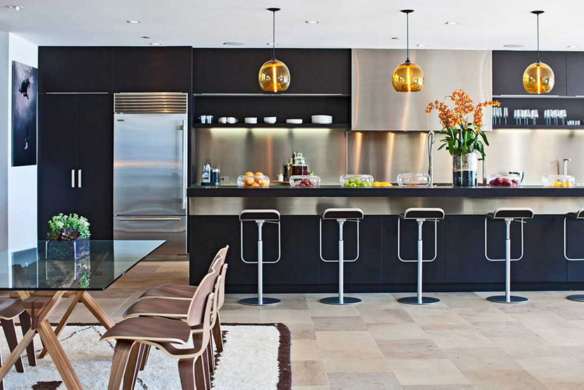 Malibu Beach Home with Amber Kitchen Island Pendant Lighting, Facing Kitchen
