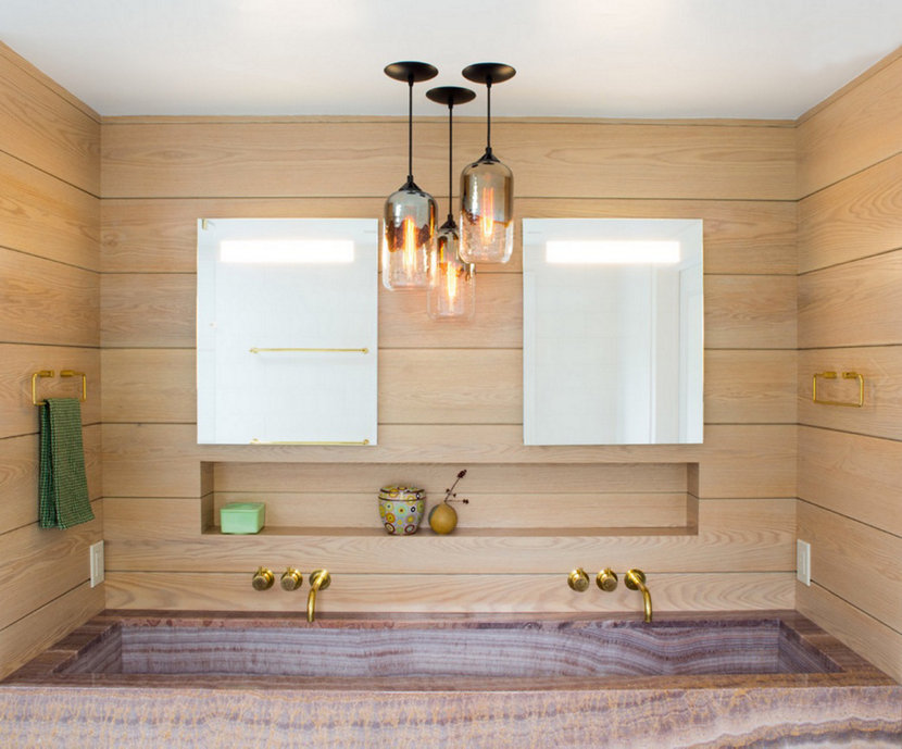 custom pendants hang in chappaqua bathroom - Bathroom Pendant Lighting
