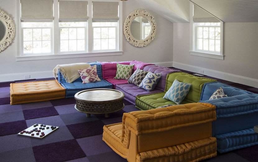 colorful sofa and pillows in modern living room