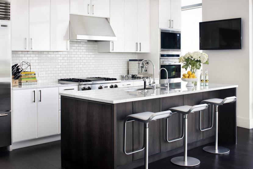 modern black and white kitchen in Austin, Texas condo