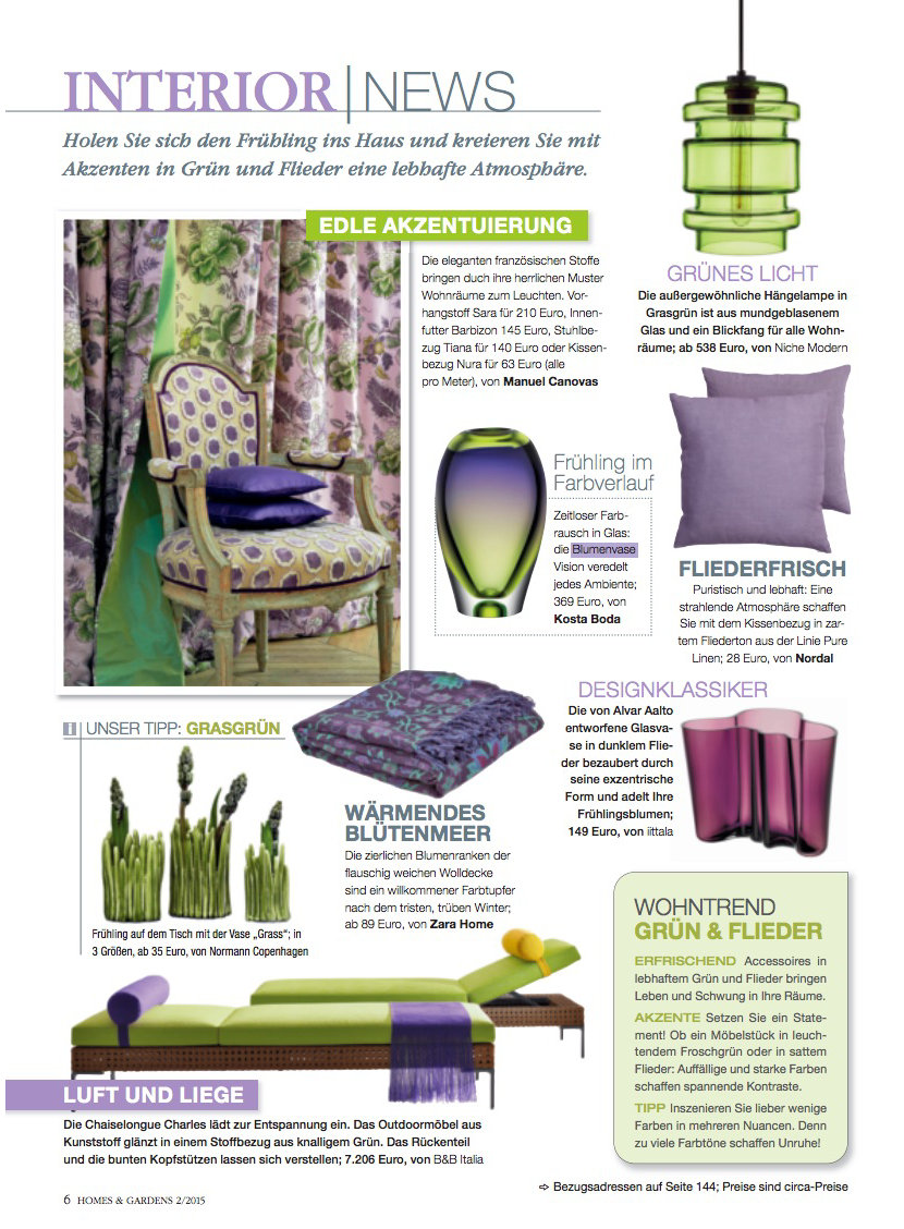 green glass pendant light in Germany's Homes and Gardens magazine