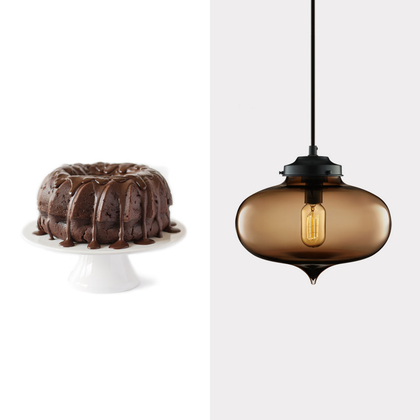 chocolate cake and brown glass pendant light