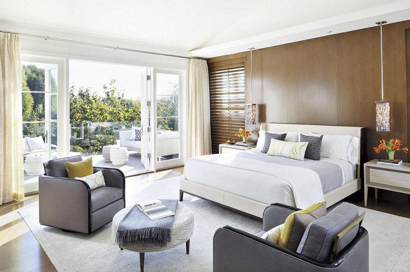 modern bedroom in Los Angeles home