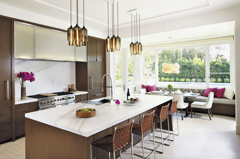 custom lighting canopy above island in modern kitchen