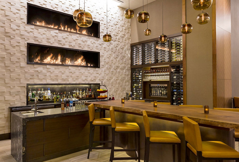 Cozy Fireside Bar Modern Hotel Lighting