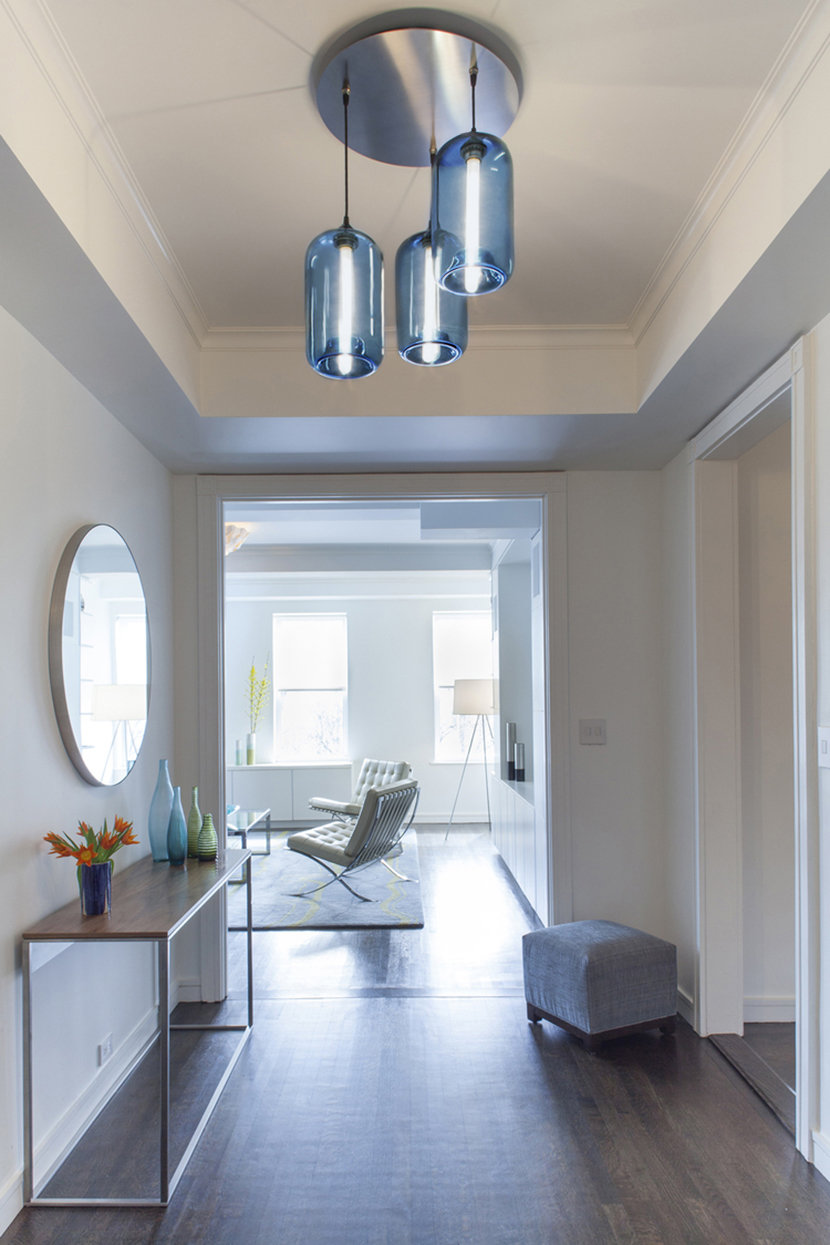 apartment entryway modern pendant light cluster