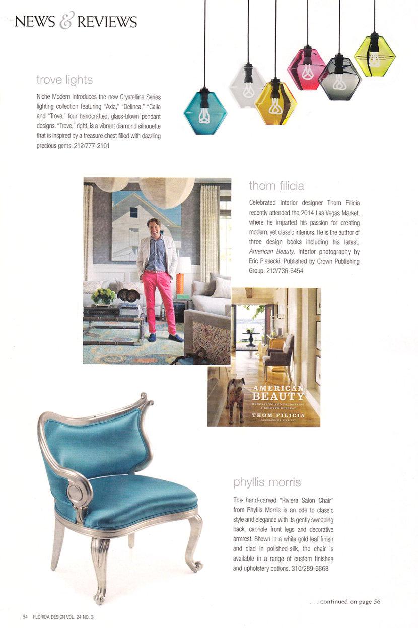 colorful glass pendant lighting in Florida Design Magazine