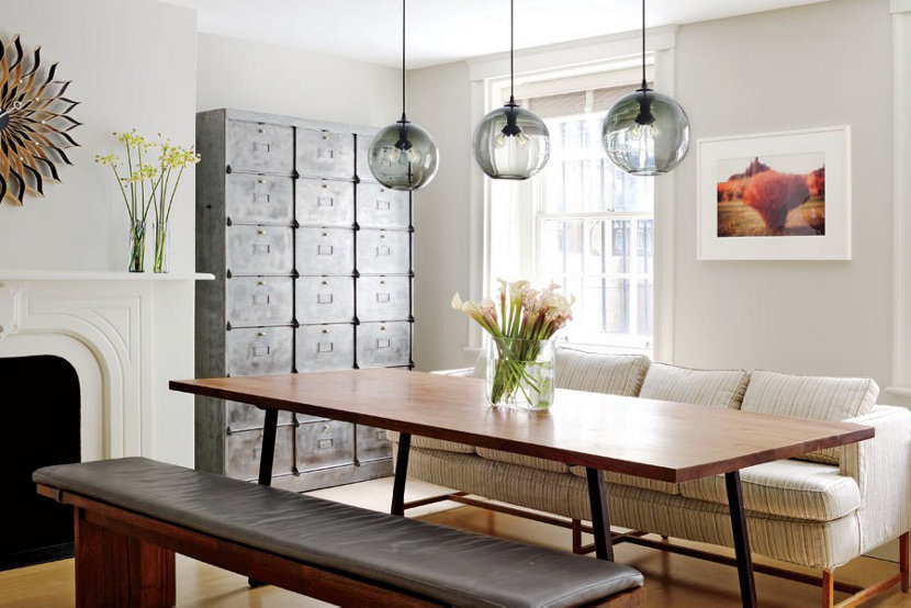 Modern Dining Room Lighting Featuring Binary Pendants in Gray Glass