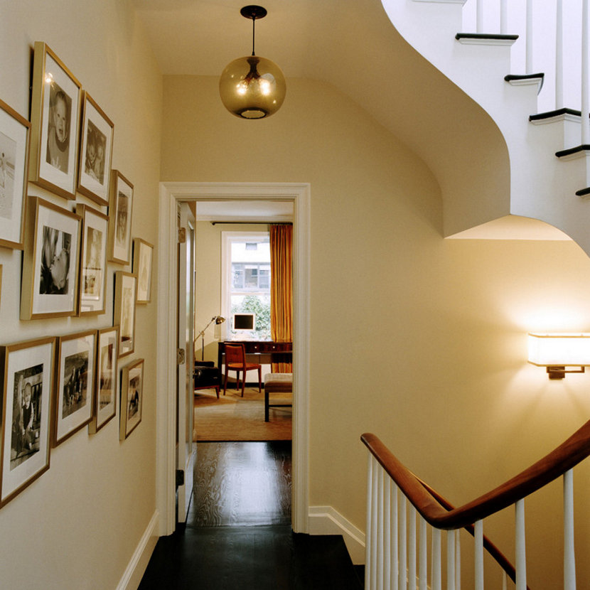 hallway pendant lighting in a New York City apartment