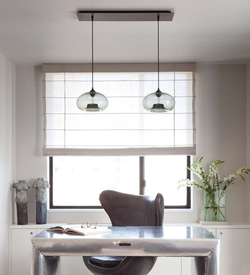 Home office with mulit-pendant linear canopies