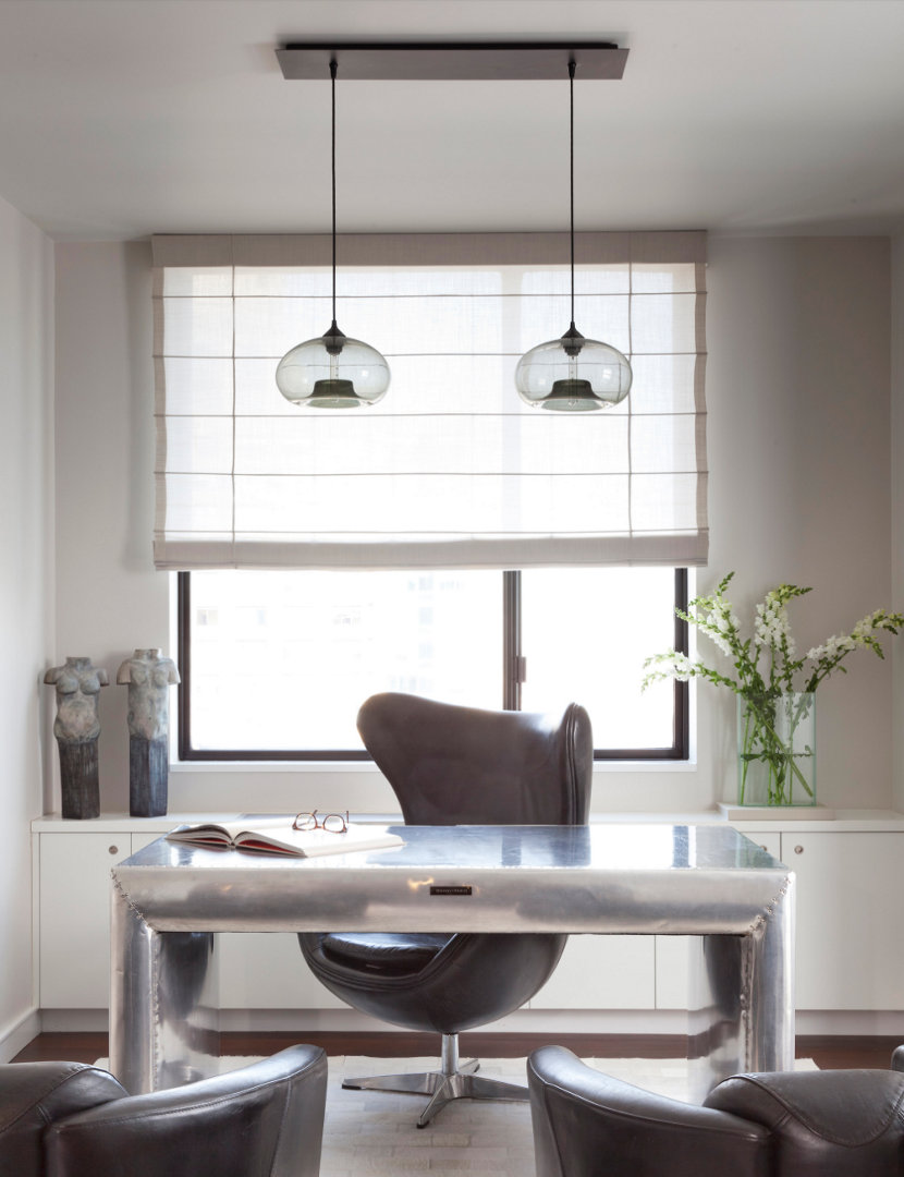 Aurora Pendants in Gray Glass Hang Above Office Desk