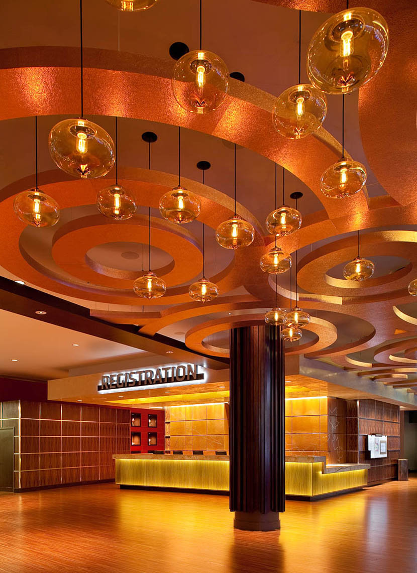 hotel and casino lobby with modern glass pendant lighting