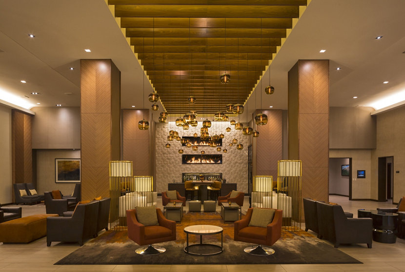 hotel lobby with modern glass pendant lighting