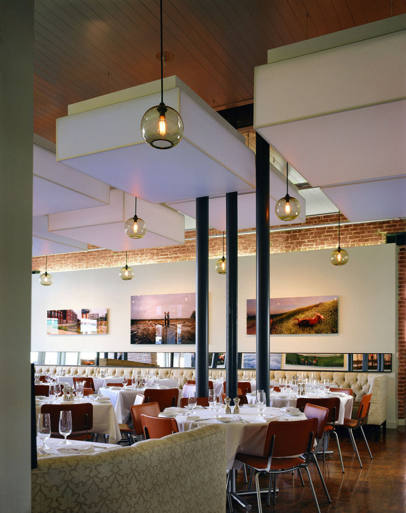 hotel restaurant with modern glass pendant lighting