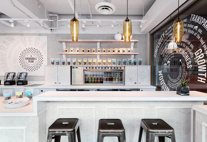 amber glass pendant lighting above counter