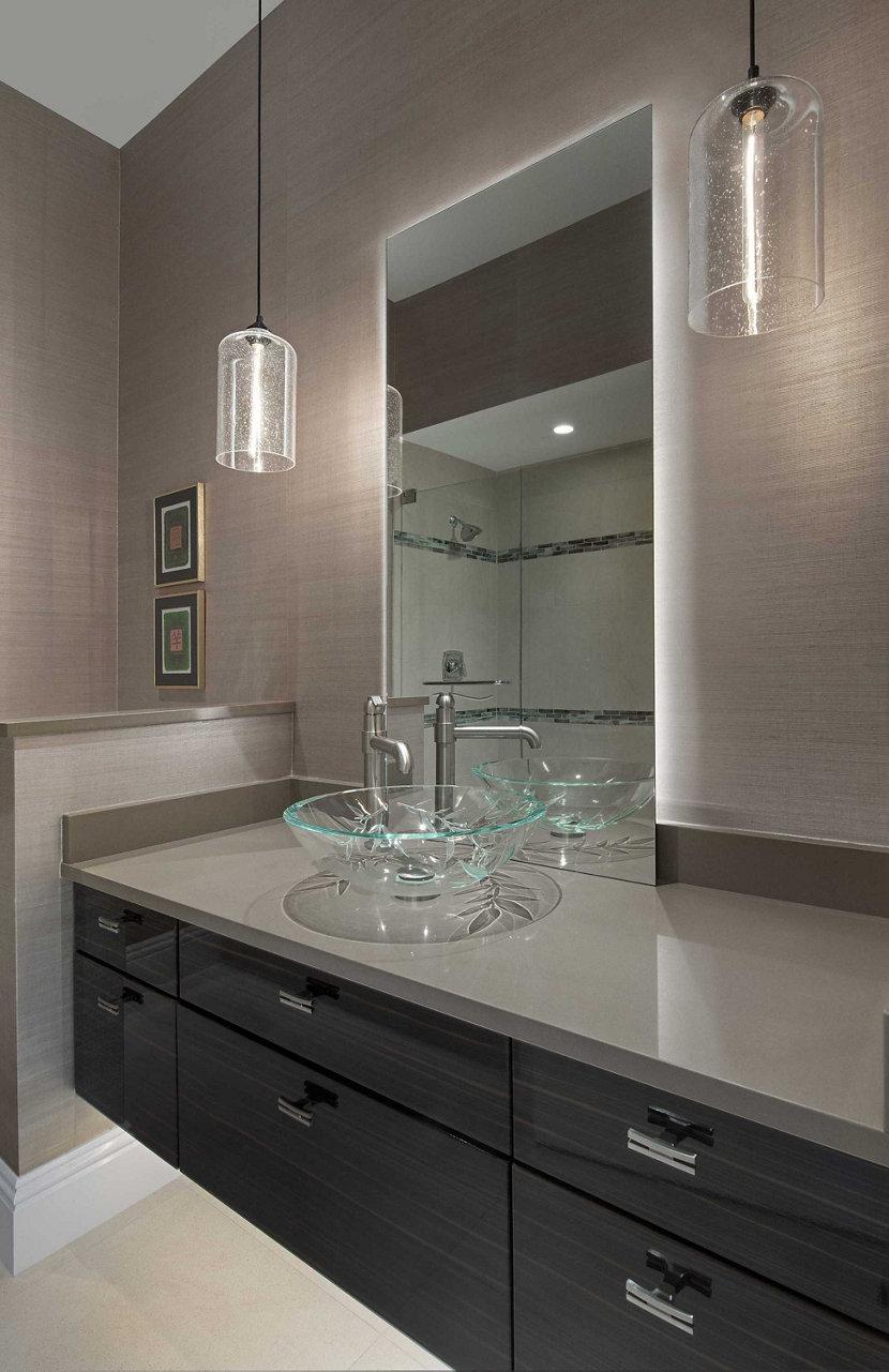 Modern Bathroom Lighting Featuring Effervescent Bella Pendants