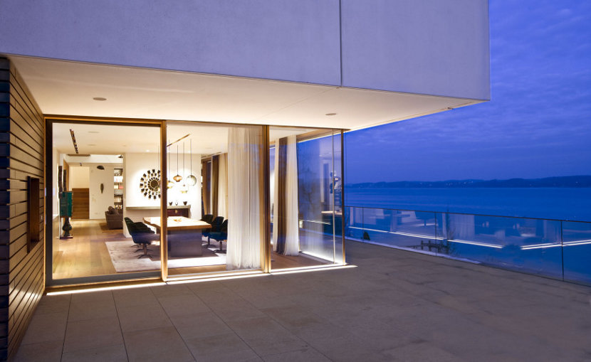 Multi-Pendant Lighting Display from Exterior of Home