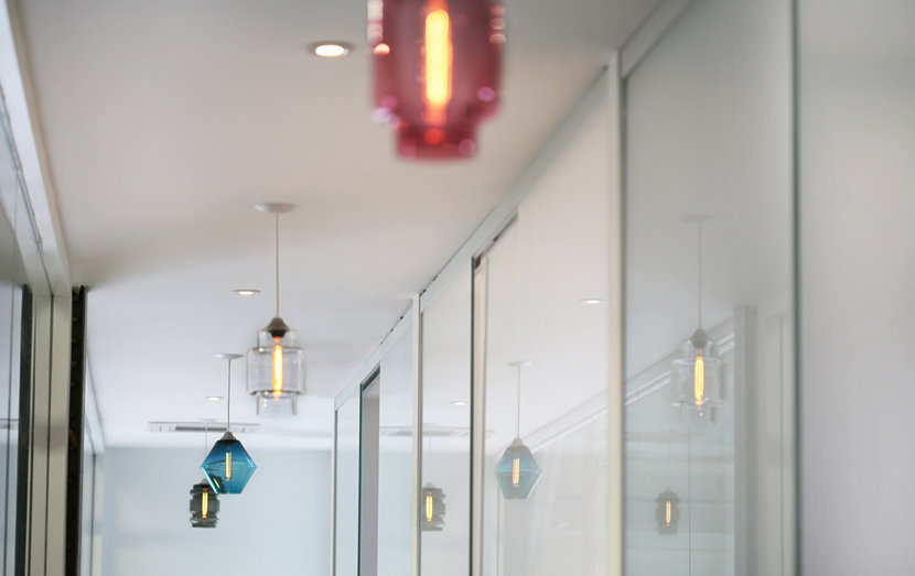 office hallway with modern glass lighting