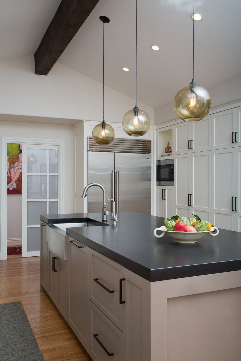 kitchen island pendant lighting adds soft glow in santa barbara home
