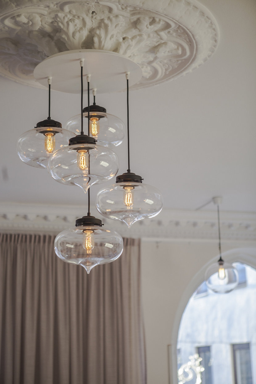 Minaret Pendants in Crystal Glass Add A Beautiful Touch to Linderoths Office