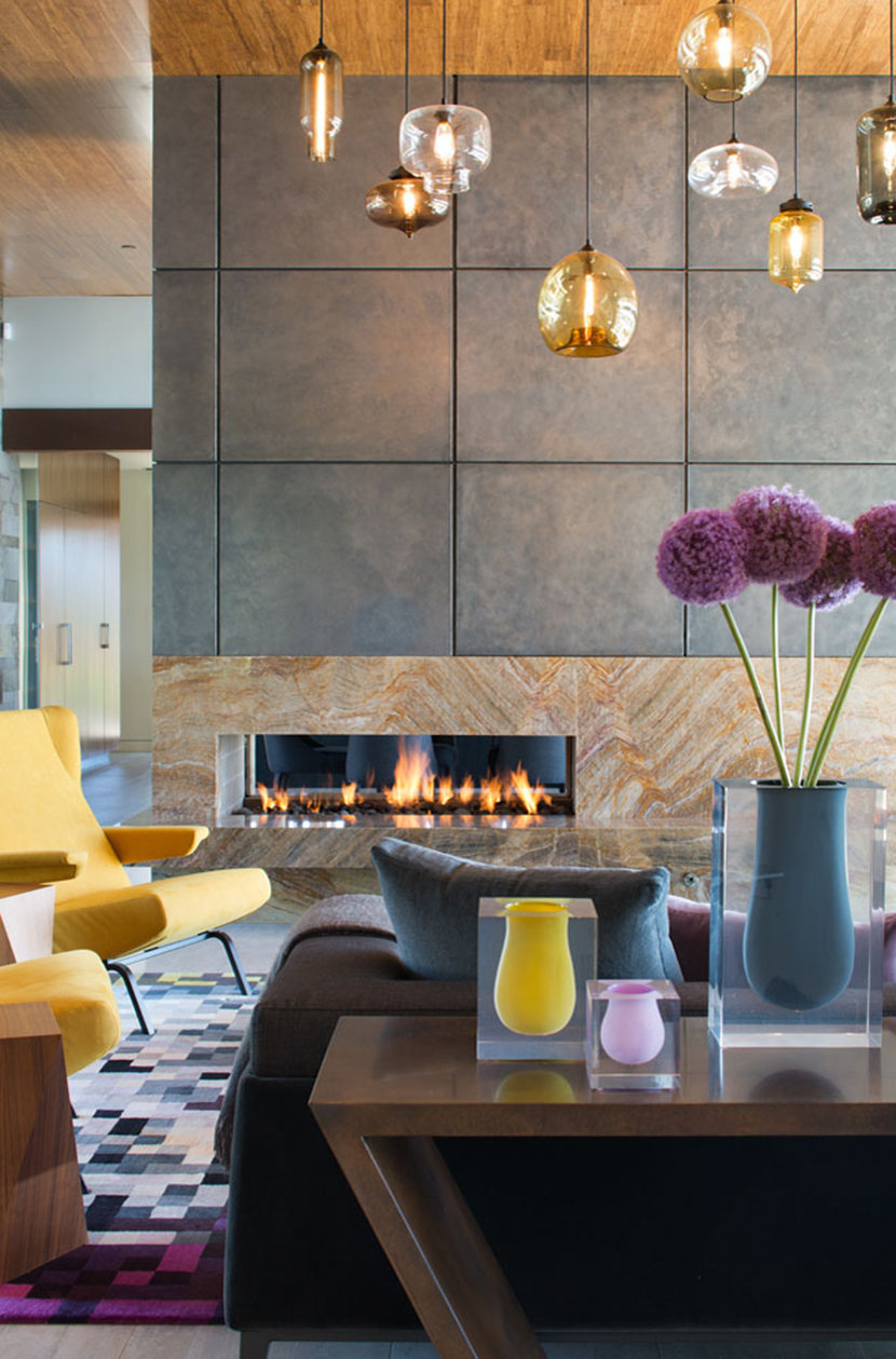 Rich Glass Colors Complement Warm Tones Found Throughout the Interior