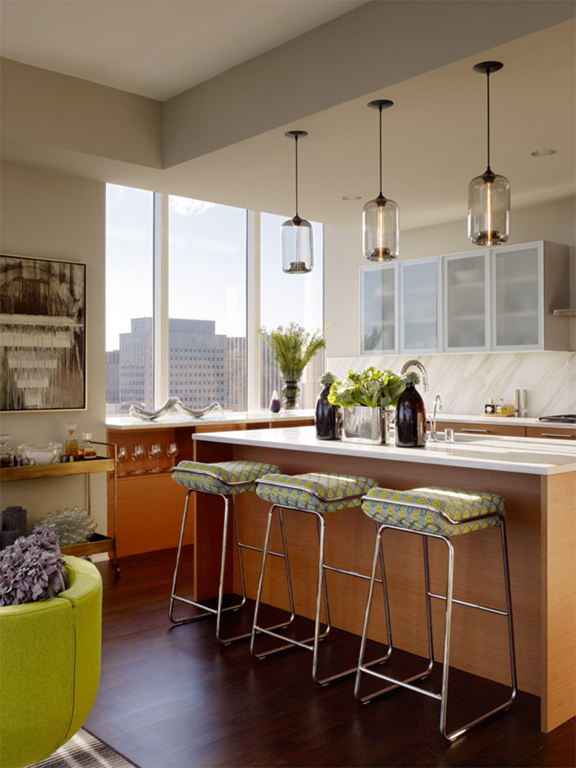 Gary Pods Hang Above Kitchen Island in Millennium Tower Home