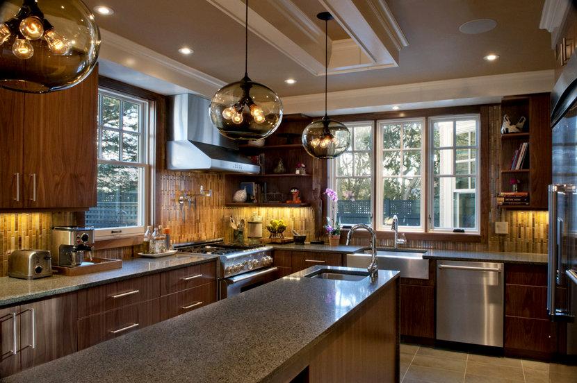 Modern Kitchen Island Pendant Lighting Illuminates Massachusetts Kitchen