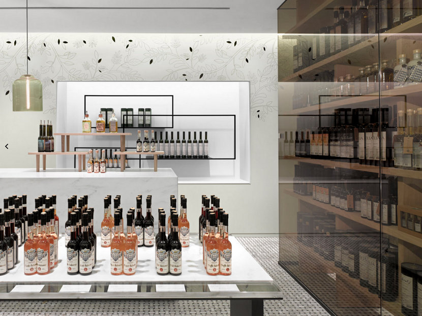 Gourmet Olive Oil Shop Features Modern Retail Store Lighting