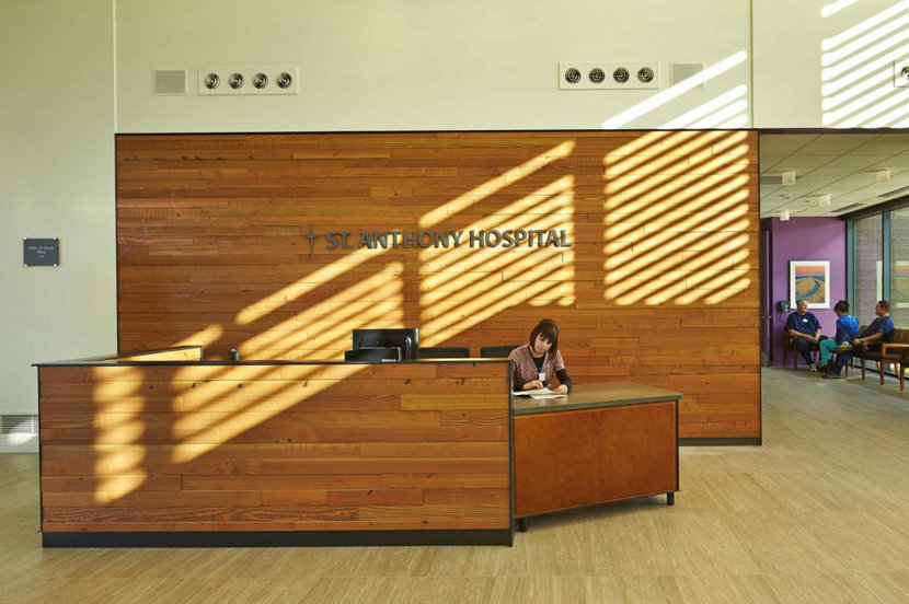 modern design hospital reception desk in the sun